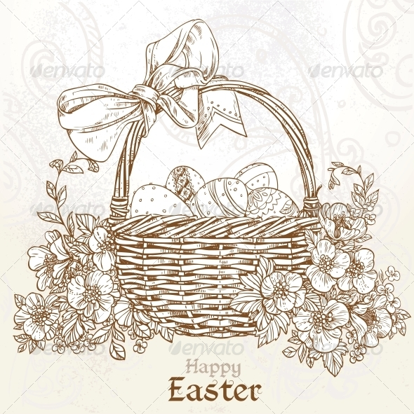 Happy Easter Card with a Basket of Eggs