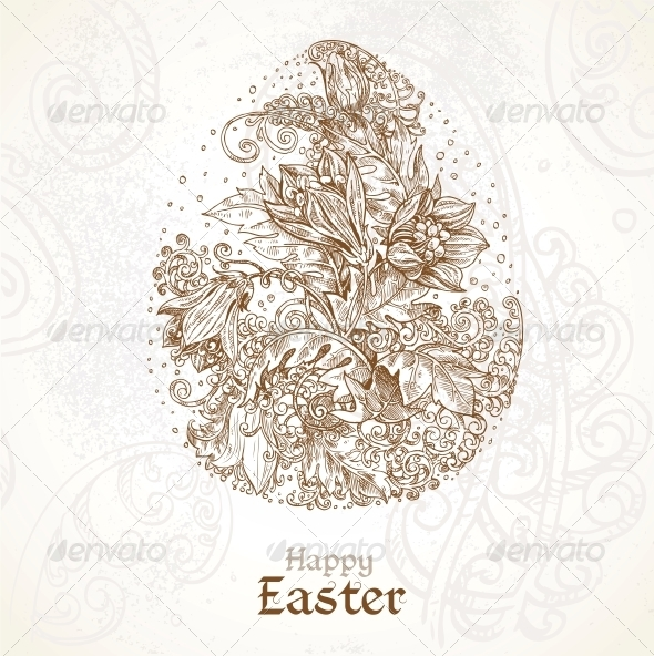 GraphicRiver Happy Easter Vintage Background with Delicate Egg 5844090
