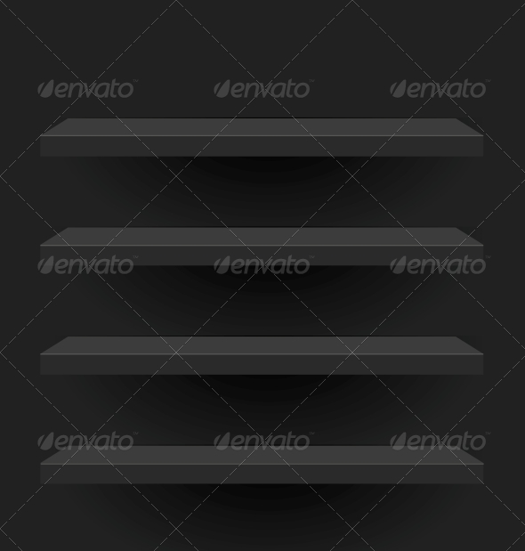 GraphicRiver Black Vector Shelves for your Design 5845042