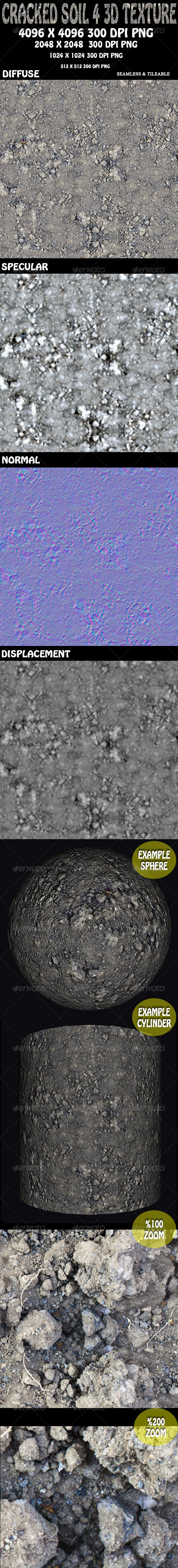 Cracked Soil 4 - 3D Texture - 3DOcean Item for Sale
