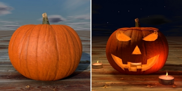 3DOcean Realistic Pumpkin and Pumpkihead with Tealight 5846287