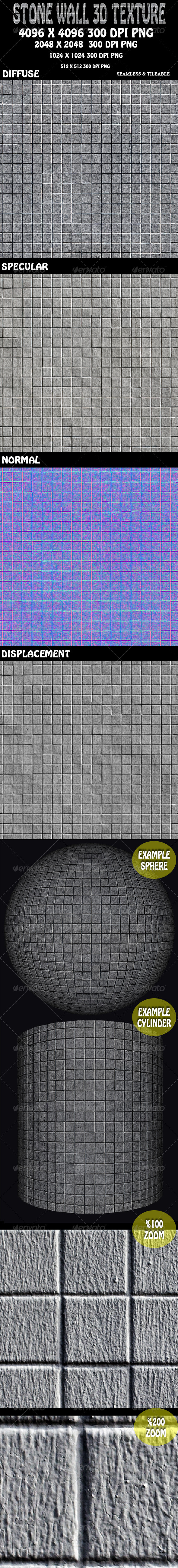 Stone Wall 3D Texture - 3DOcean Item for Sale