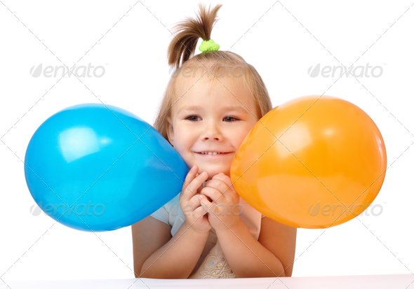 Cute Little Girl With Two Colored Balloons - Stock Photo - Images