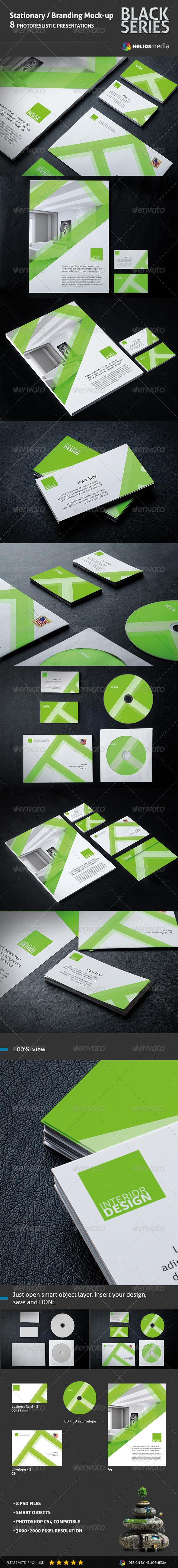 GraphicRiver Stationery Branding BlackSeries Mockup 5846707