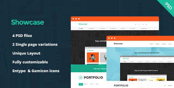 Showcase is a flat, minimalistic, professional & creative One Page PSD Template for Freelancer Portfolio, Agency, Corporate business & so on. All PSD ar