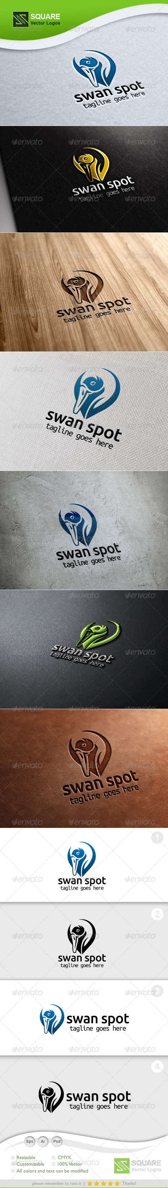 Swan, Locator Vector Logo Template - Animals Logo Templates