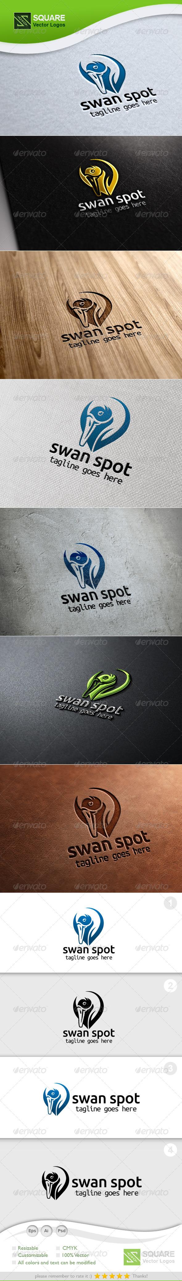 Swan Locator Vector Logo Template