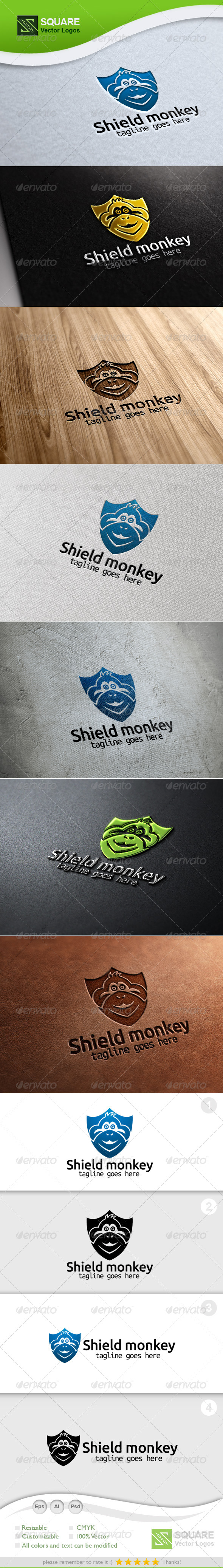 Shield, Monkey Vector Logo Template - Animals Logo Templates