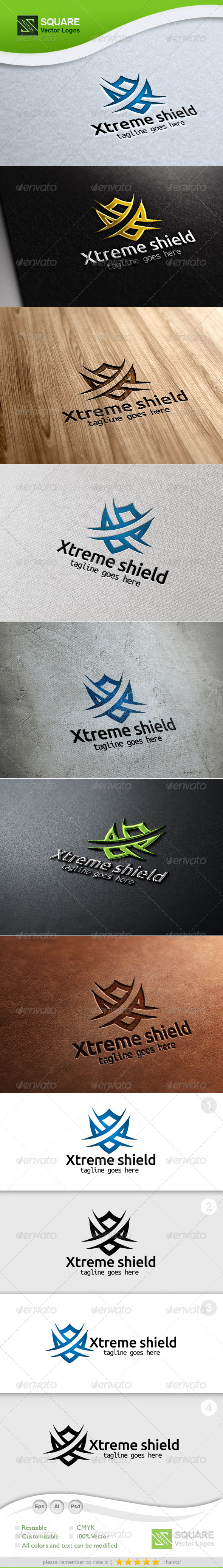 X Shield Vector Logo Template