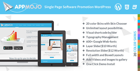 ThemeForest App Mojo Single Page Software Promotion Theme 5847935