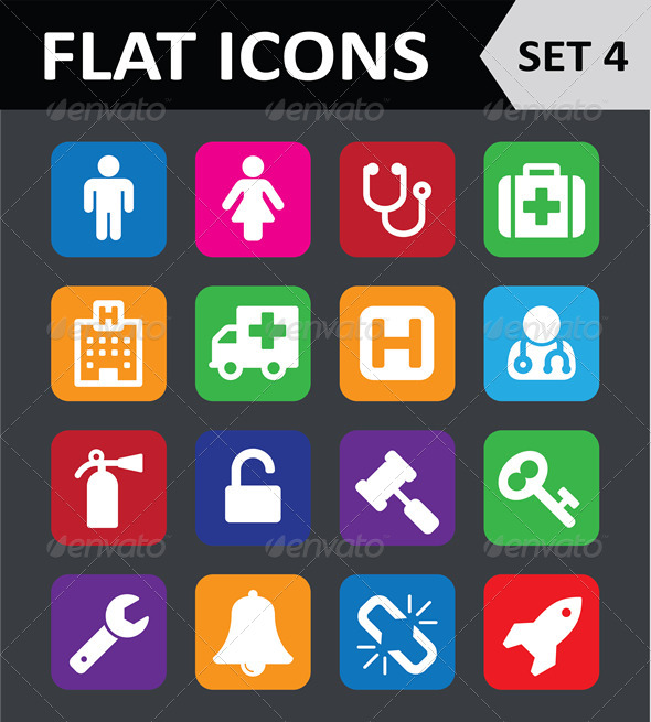 Universal Colorful Flat Icons Set 4