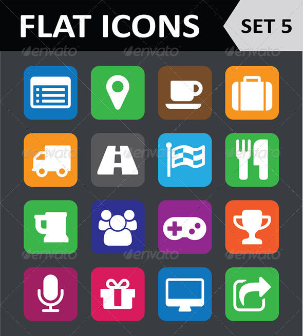 Universal Colorful Flat Icons Set 5