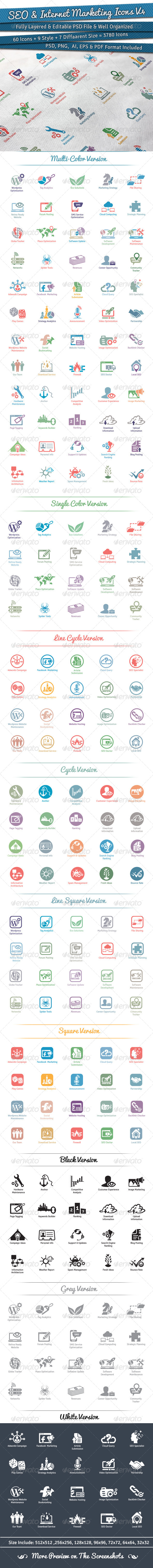 GraphicRiver 60 SEO & Internet Marketing Icons Volume 4 5848641