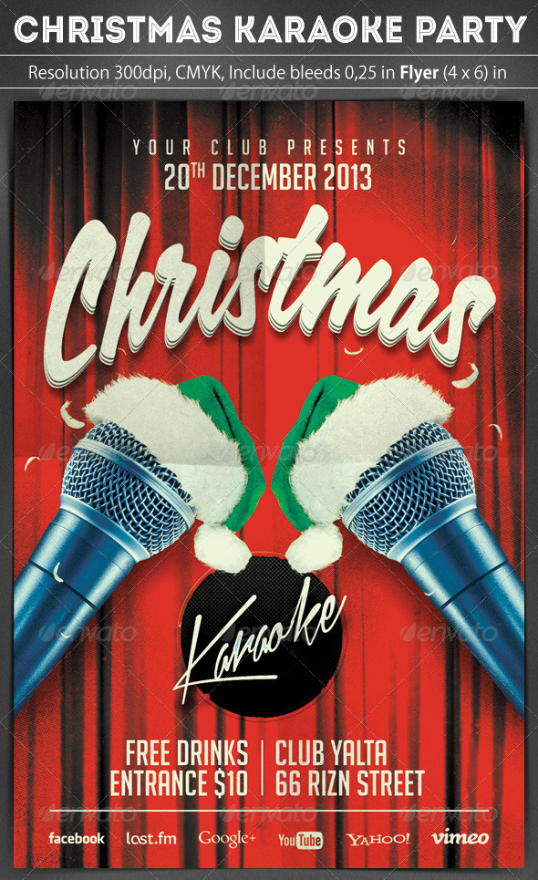 Christmas Karaoke Flyer - Clubs & Parties Events