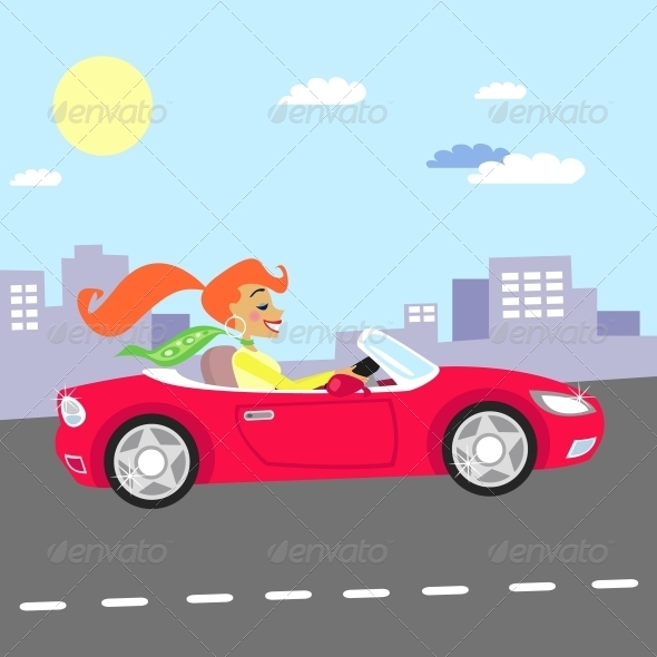GraphicRiver Girl in Car 5848864