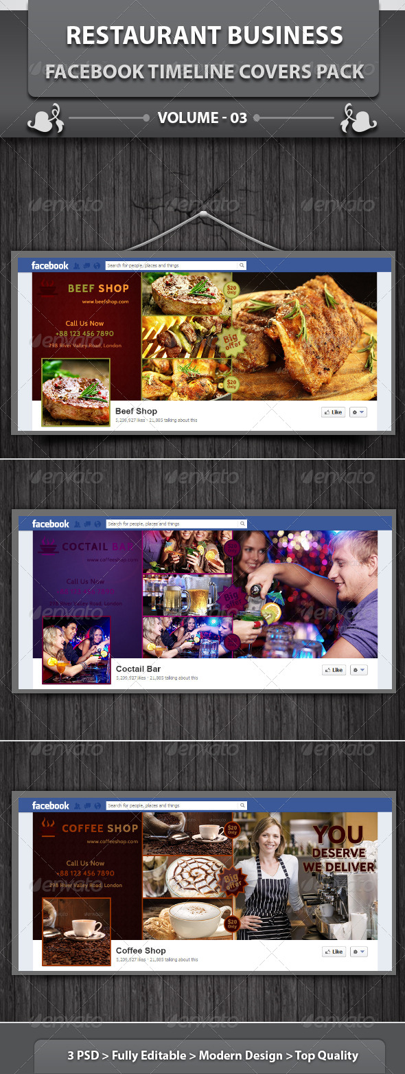 GraphicRiver Restaurant Facebook Timeline Covers Pack v3 5850074