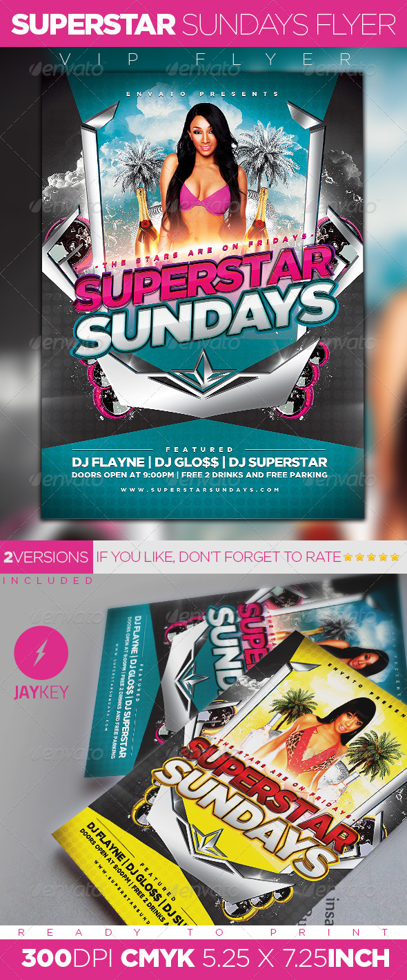 GraphicRiver Superstar Sundays Party Flyer 5850518