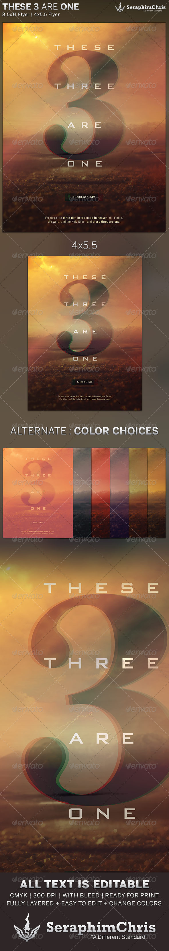 GraphicRiver These Three are One Church Flyer Template 5851320