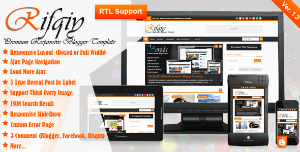 Rifqiy Premium Responsive Blogger Template Poster