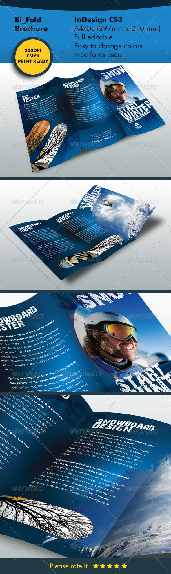 Winter 3fold Ski and Snowboard - Informational Brochures