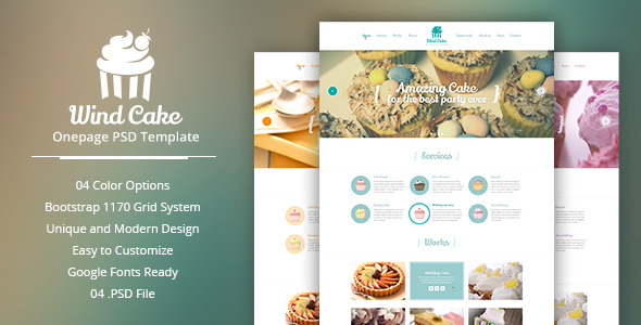 Wind Cake – One Page PSD Template - Restaurants & Cafes Entertainment