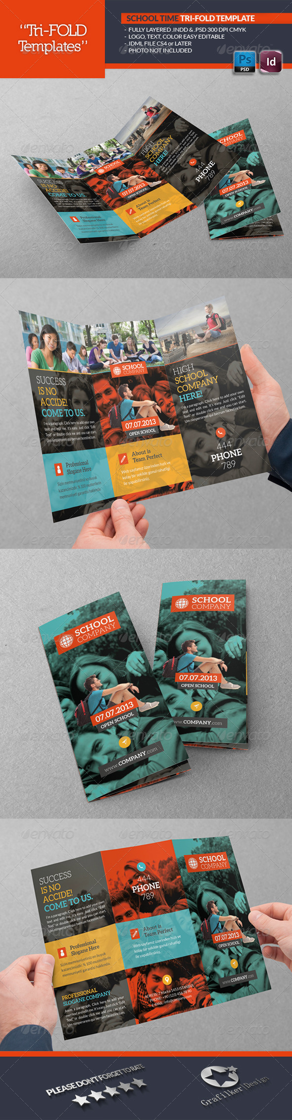 GraphicRiver School Time Tri-Fold Template 5852643