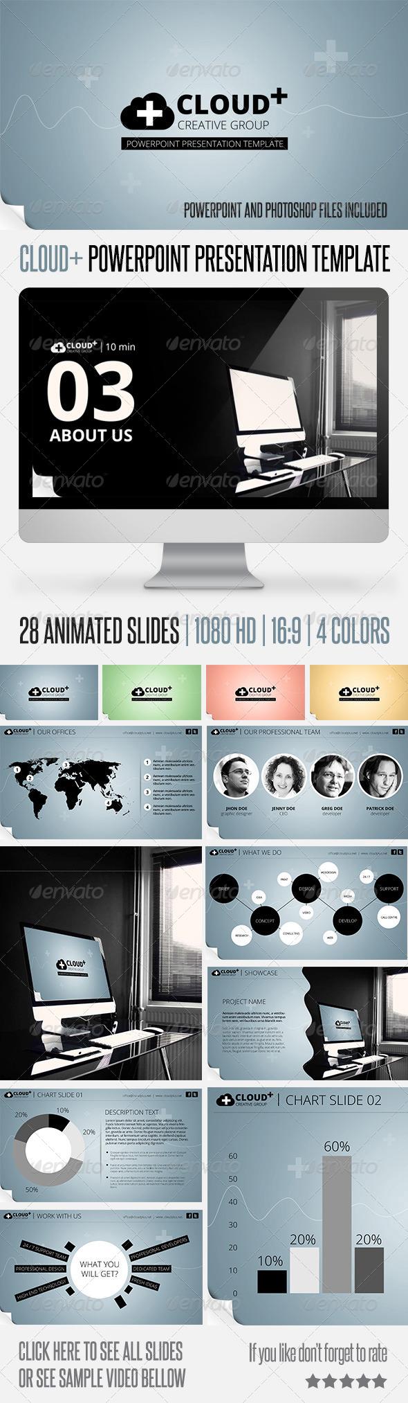 GraphicRiver Cloud Plus Powerpoint Presentation Template 5775968