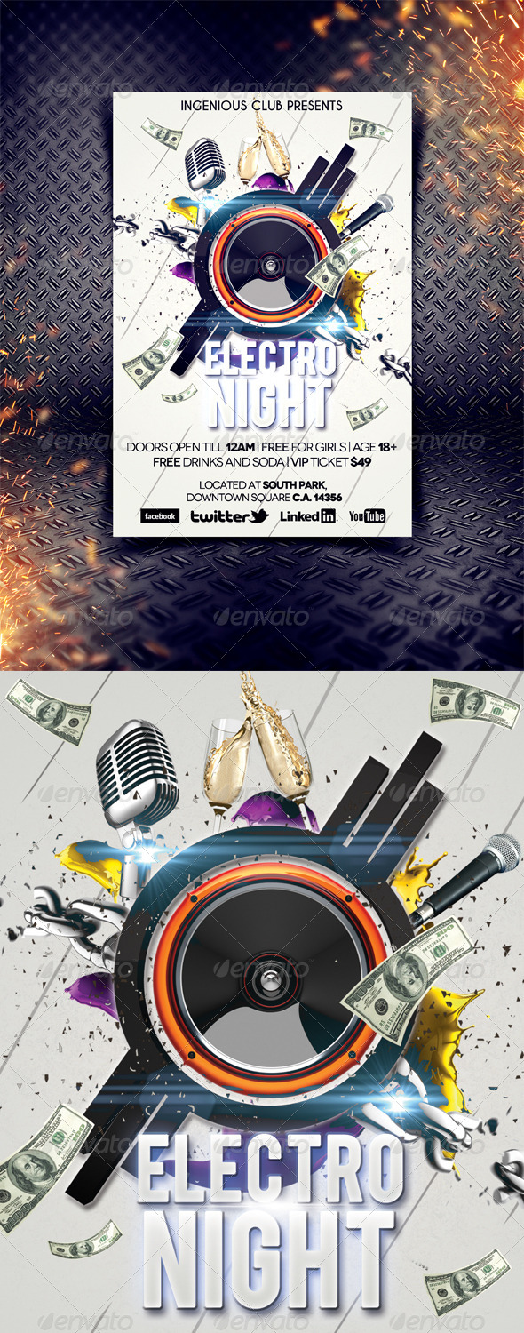 GraphicRiver Electro Night Party Flyer 5064543