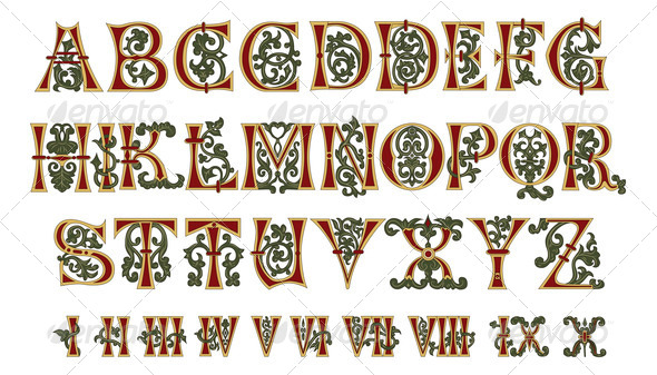Alphabet Medieval and Roman numerals - Stock Photo - Images