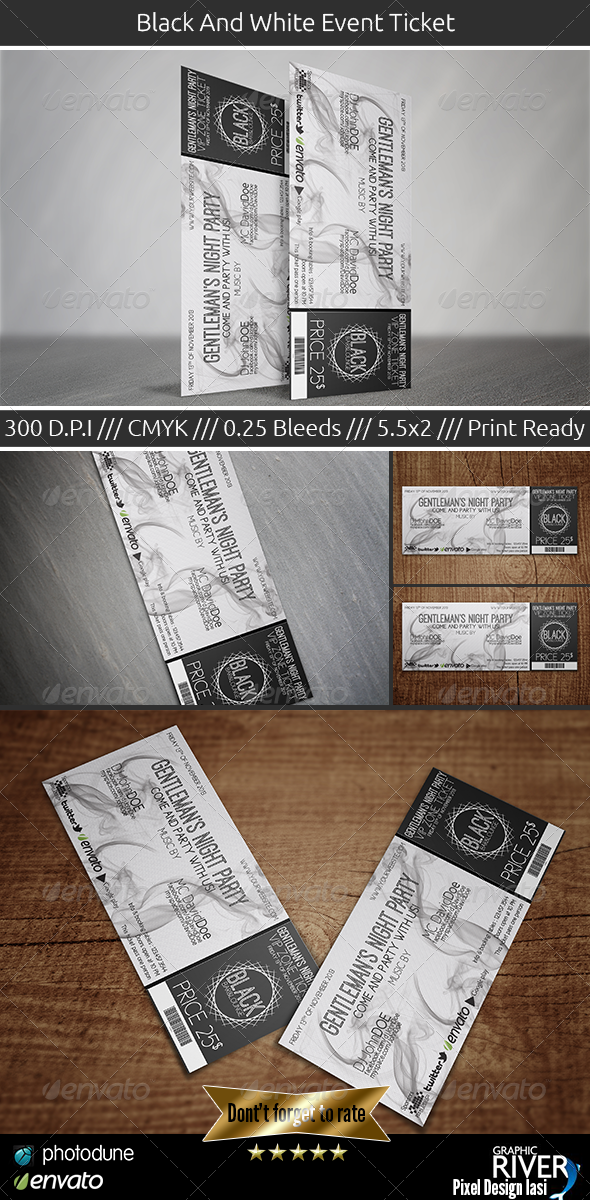 GraphicRiver Black And White Event Ticket 5853167