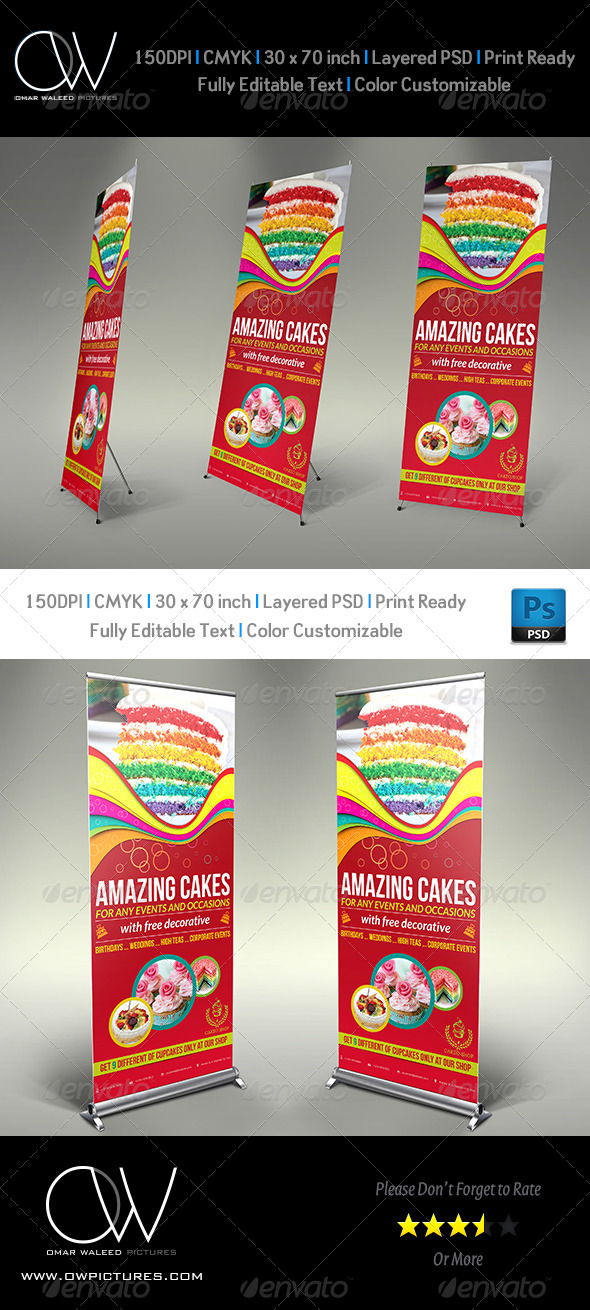GraphicRiver Cake Signage Roll Up Banner Template Vol.3 5853213