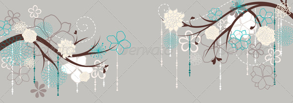 GraphicRiver Panorama with Branches and Flowers 5853461