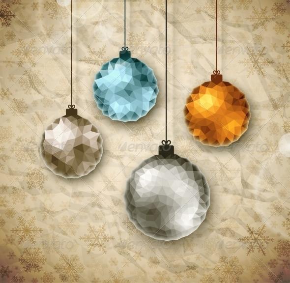 GraphicRiver Vintage Christmas Balls 5853535