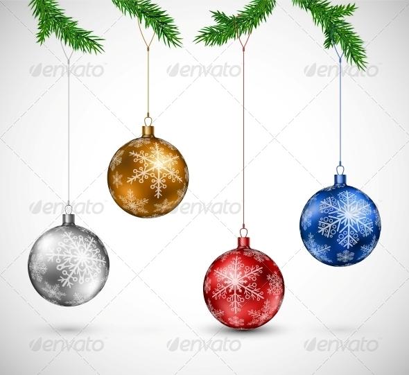 GraphicRiver Christmas Balls Hanging 5853539