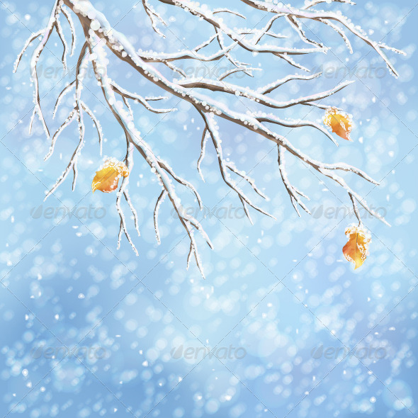 GraphicRiver Winter Vector Snow-Covered Branch Background 5853592