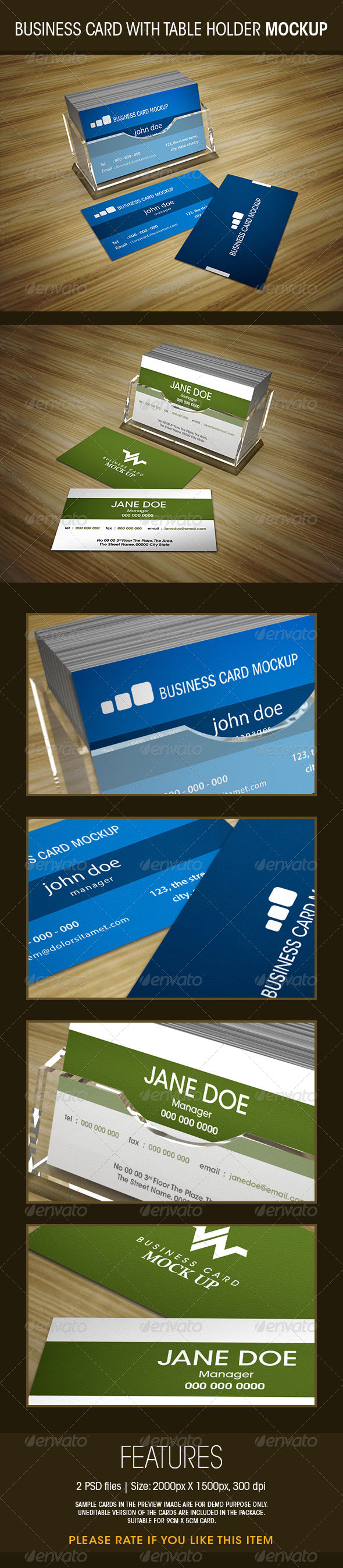 GraphicRiver Business Card with Table Holder Mockup 5853707