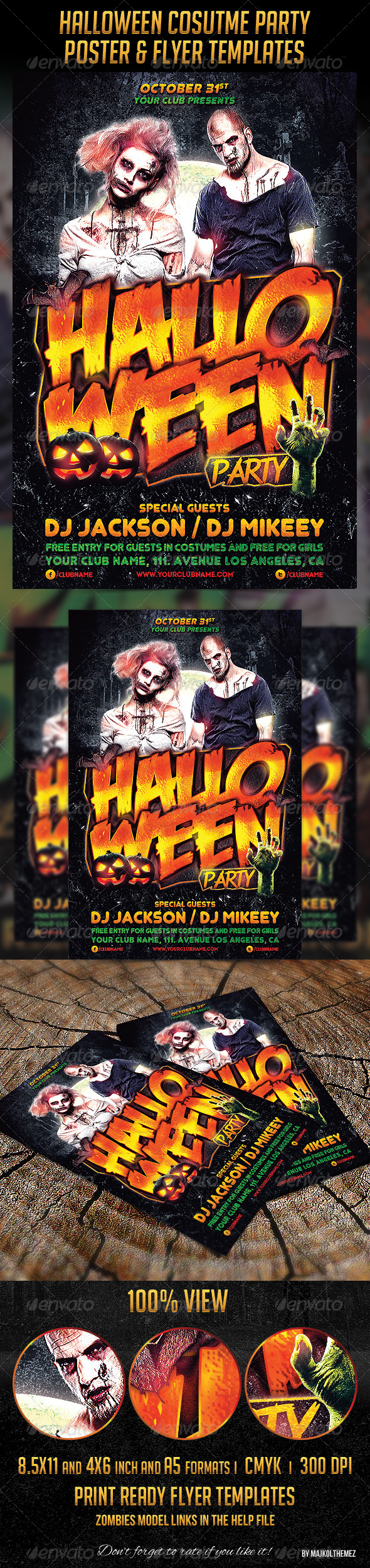 Halloween Costume Party Flyers and Poster