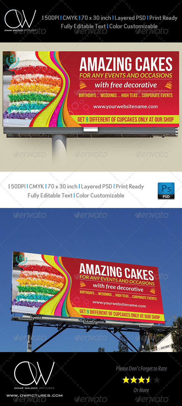 Cake Billboard Template Vol.4 - Signage Print Templates