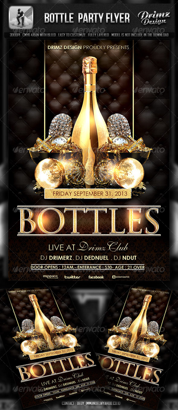 GraphicRiver Bottle Party Flyer 5800933