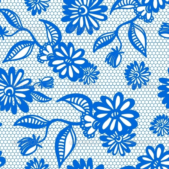GraphicRiver Blue Seamless Floral Vintage Lace Background 5854724