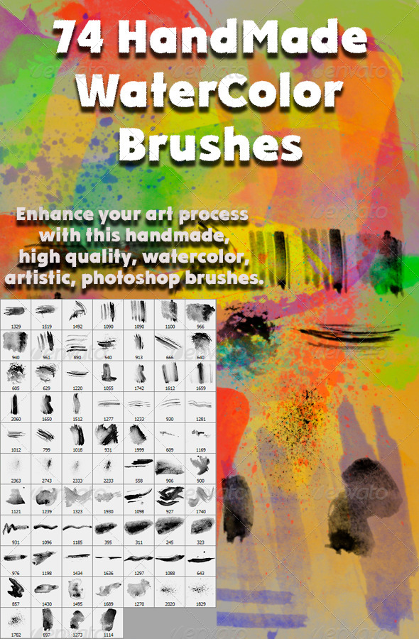 GraphicRiver 74 Watercolor Brush Set 5854912