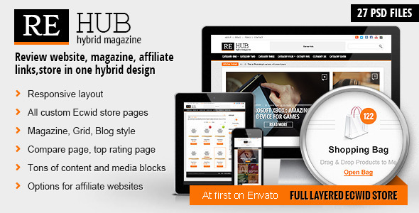 REHub – Hybrid website template REHub is a modern hybrid theme. It will be good choice for review websites, magazine websites, blogs with shop option and