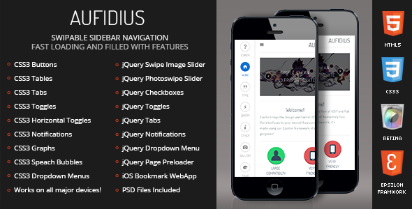 Aufidius Mobile Retina | HTML5 & CSS3 And iWebApp