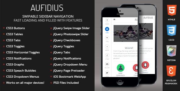 Aufidius Mobile Retina | HTML5 & CSS3 And iWebApp