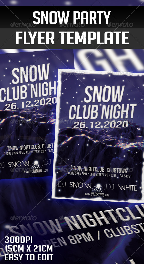 GraphicRiver Snow Party Flyer Template 5855052