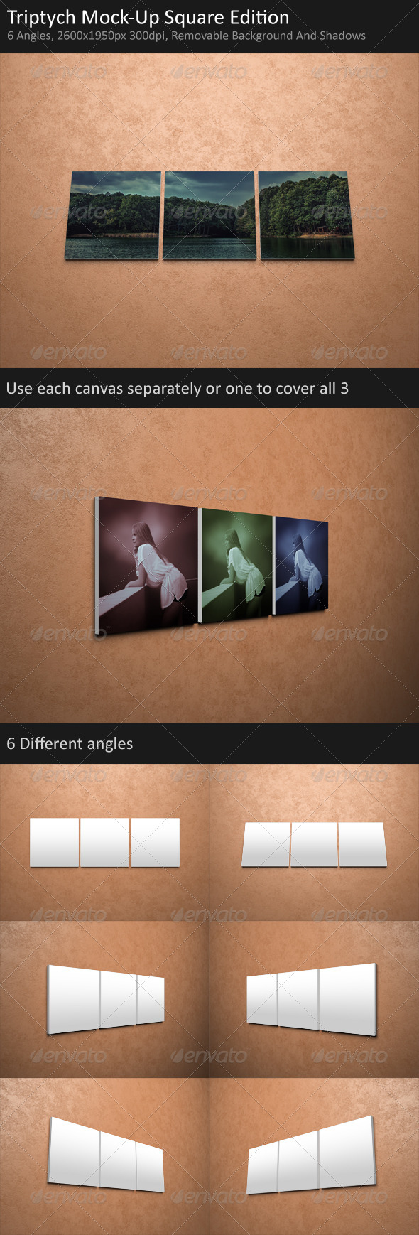 GraphicRiver Triptych Mock-Up Square Edition 5855132