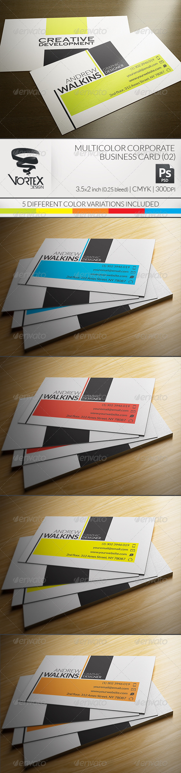 GraphicRiver Multicolor Corporate Business Card 02 5855168