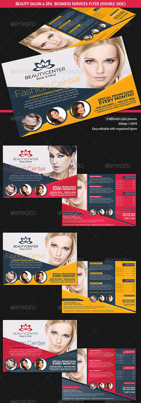 Beauty Center Spa Business Services Flyer Graphicriver