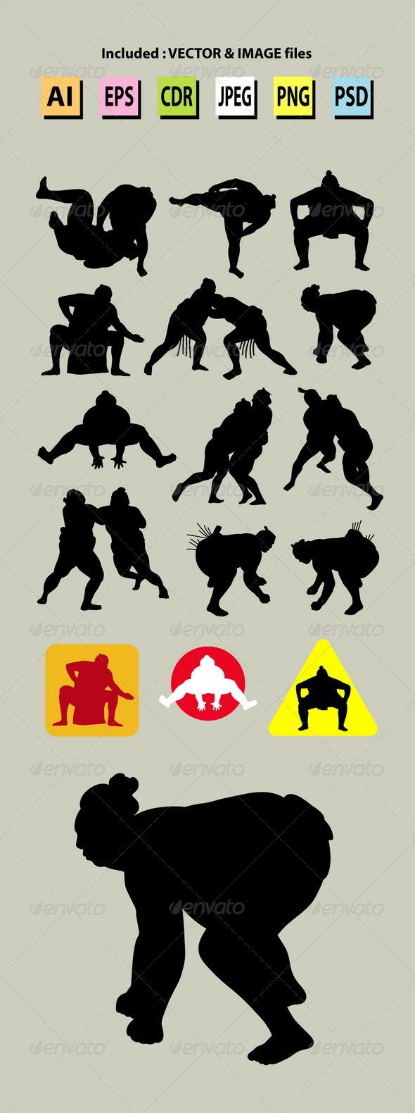GraphicRiver Sumo Silhouettes 5857375