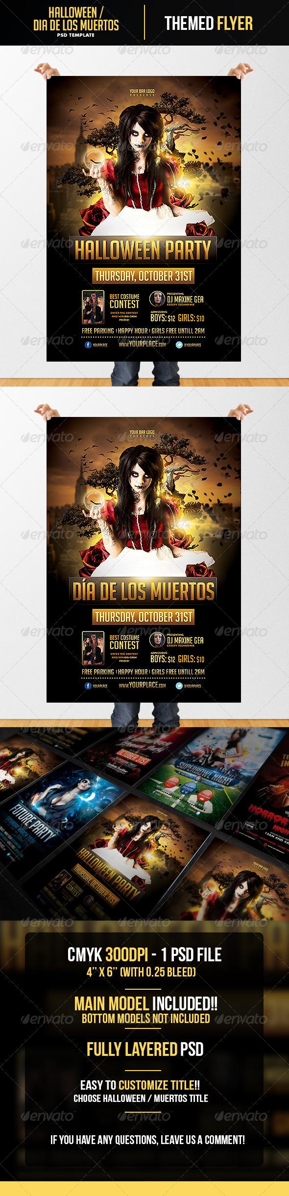 GraphicRiver Halloween Dia de los Muertos Flyer Template 5857413